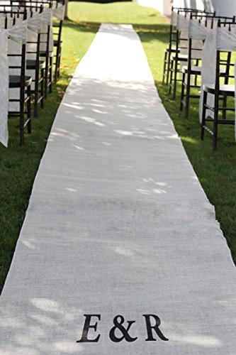 Burlap Wedding Aisle Runner 36 inch x 100 feet Rustic - White by TBA