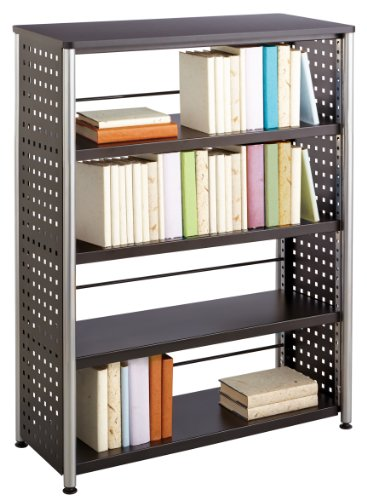 Safco Products 1603BL Scoot Bookcase with 4 Shelves, Black - Safco Steel Bookcase