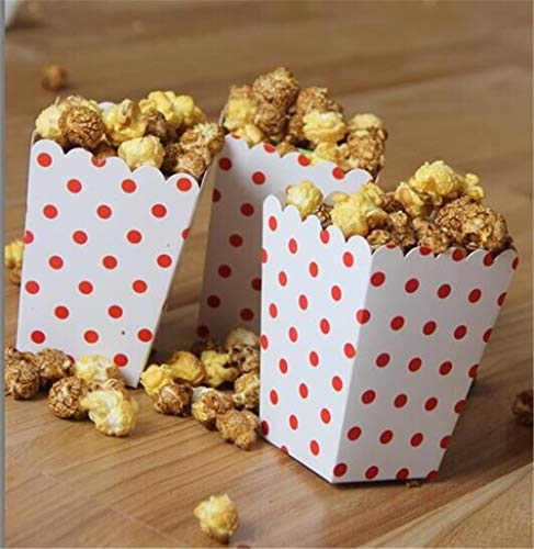 ASMGroup Popcorn Boxes 6pcs/bag Colorful Mini Dot Popcorn Box Party Supplies Gift Box Party Favor Candy For Kid Baby Shower Wedding Party Decoration Red&White