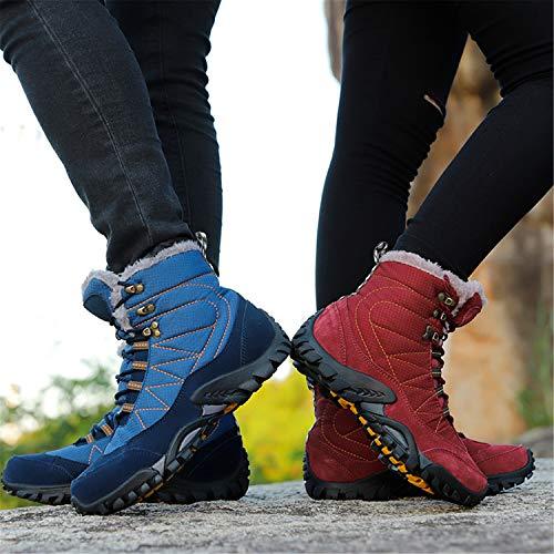 Rond Tqgold Hiver Femme Boots Chaud Randonnée Rouge Bottes Neige Fourrure Trekking Homme Chaussures Outdoor Plate Sneakers Haut De Bas rwrRqPz