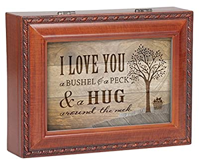 I Love You A Bushel & A Peck Wood Finish Jewelry Music Box Plays Tune You Are My Sunshine