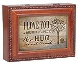 I Love You A Bushel & A Peck Wood Finish Jewelry Music Box Plays Tune You Are My Sunshine