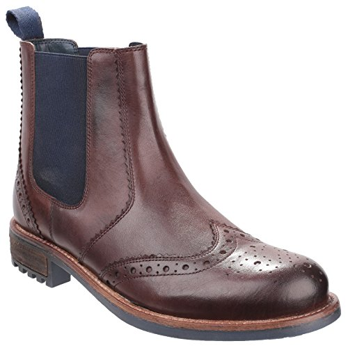 Cotswold Mens Cirencester Pull On Brogue Leather Chelsea Ankle Boots Brown