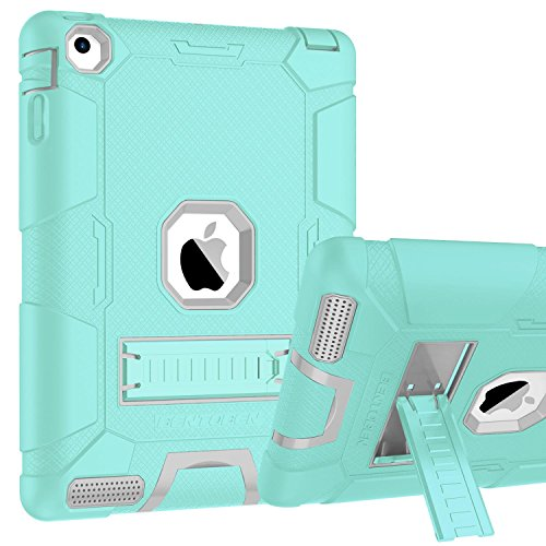 iPad 2 / iPad 3 / iPad 4 Case, BENTOBEN Kickstand Heavy Duty Shockproof Anti-slip 3 in 1 Full-body Rugged Soft Rubber Hard PC Protective Case for iPad 2nd / 3rd / 4th Generation, Mist Blue/Light Gray