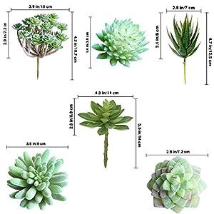 Supla Pack of 6 Assorted Artificial Echeveria Succulent Picks Textured Faux Succulent Pick Agave Cactus in Different Green for Fake Succulent Bouquet Floral Arrangement 2