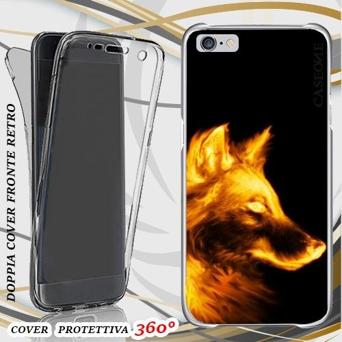 CUSTODIA COVER CASE FIRE DOG PER IPHONE 6 FRONT BACK