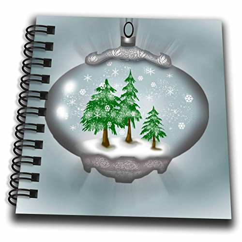 3dRose Dawn Gagnon Photography and Designs-Holidays - Snow Globe ornament design with snow and trees - Mini Notepad 4 x 4 inch (Mini Snowglobe Ornament)