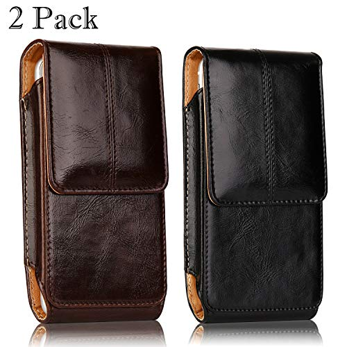 2 Pack iPhone 8 Plus Pouch Case, iNNEXT Real Leather Vertical Holster Belt Clip Carrying Case Pouch with Magnetic Closure for iPhone 7 Plus/iPhone 6S Plus 5.5 inch Note 8 (Black & Brown) ()