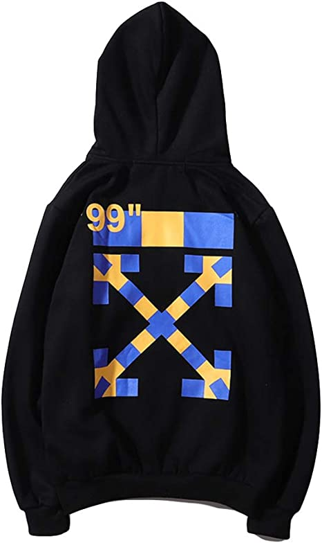 OW Off Fashion Arrow Print Loose Casual Black Cotton Pullover Hoodie Sweater for Men//Women