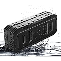 Waterproof Bluetooth Speaker Portable Loud Bluetooth Speakers Wireless Speakers Outdoor with Superior Bass,Stereo,20W Loud Volume,TF Card,Built in Dual Mic,TWS,24Hours Playtime, 3600mAh,Black,SHIDU