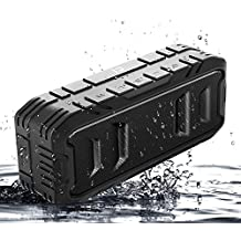 SHIDU Waterproof Bluetooth Speakers, Portable Outdoor Speakers, Wireless Loud Speakers with Superior Bass, Stereo, 20W Loud Volume, TF Card, Built in Dual Mic, TWS, Black