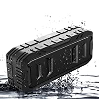 Portable Waterproof Bluetooth Speaker with Wireless,Loud Outdoor Bluetooth Speakers with Superior Bass,Stereo,20W Loud Volume,TF Card,Built in Dual Mic,TWS,24Hours Playtime, 3600mAh,Black,SHIDU
