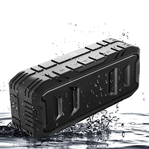 Waterproof Bluetooth Speakers, Portable Outdoor Speakers, Wireless Loud Speakers with Superior Bass, Stereo, 20W Loud Volume, TF Card, Built in Dual Mic, TWS, Black, SHIDU