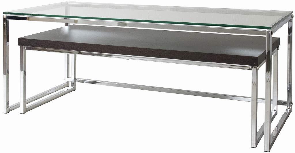 ネストテーブル/センターテーブル 幅100cm ガラス天板×木目調天板【ET001226】 B07PBQYNWB