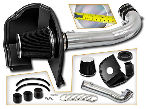 Cold Air Intake System with Heat Shield Kit + Filter Combo BLACK Compatible For 15-17 Cadillac Escalade V8 (Best Cold Air Intake For 2019 Chevy Silverado 1500)