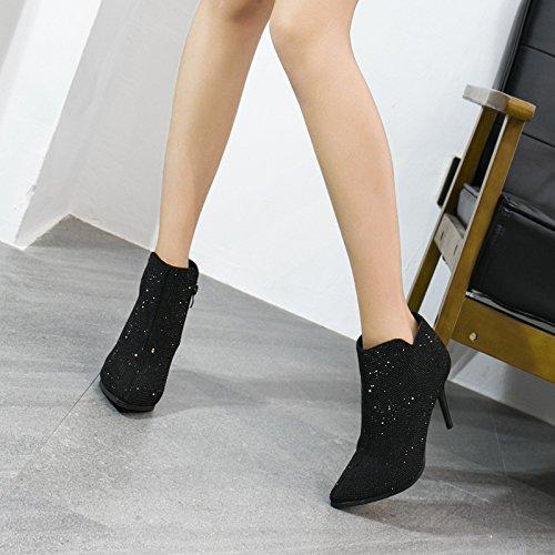 Talon Les Courte Amende L'Automne Des L'Hiver Des Et Nouvelle Talon Sexy Talons Européenne KHSKX Chaussures À Américaine black Est Chaussures Strass Et La Des Bottes Femmes qwXAdS