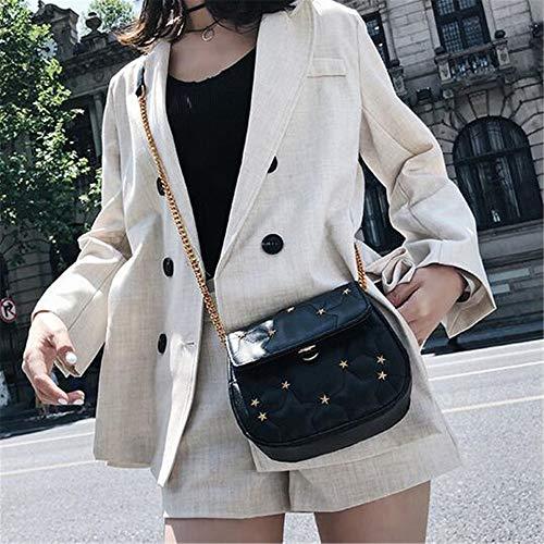 Languanglin nero bag a catena Saddle Borsa tracolla Personality tracolla Riding a Wild a catena Fashion beige Borsa con EIqTCq