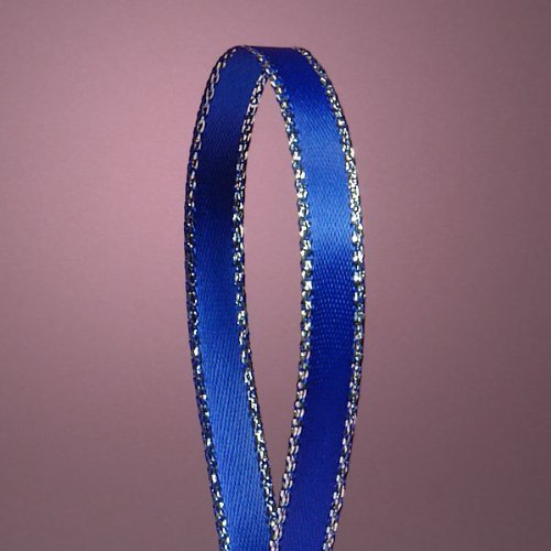 QIANF Royal Blue Double Face Satin Ribbon with Silver Border, 1/4 Inch X 50Yd