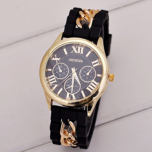 Fashion Women Girl Watch Silicone Roman Numerals Quartz Wrist Watches Good-looking