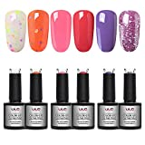 ULG Gel Nail Polish Summer Colors Set Cheese Glitter Nail Art Kit Each 10ml