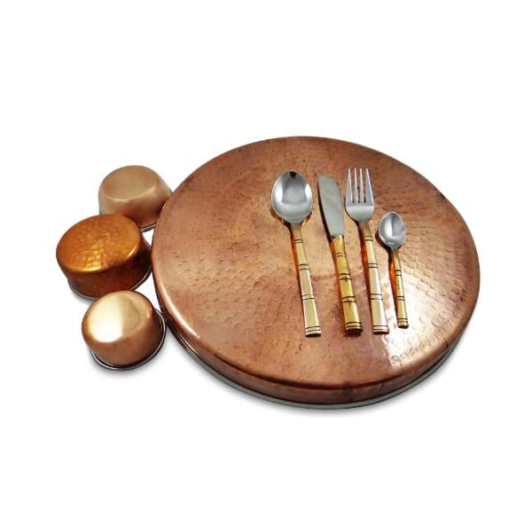 Traditional Copper and Steel Thali Serving Set 3