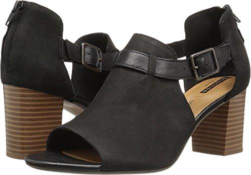 CLARKS Women's Deva Valeria Pump, Black Nubuck, 11 Medium (Clarks Peep Toe Shoes)