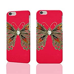 Butterfly Motif on Red Photo Plastic Hard Customized Personalized 3D Case For iPhone 6 - 4.7 inches