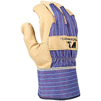 Heavy Duty Grain Leather Work Gloves with Safety Cuff, Leather Palm, Large (Wells Lamont 3300L)