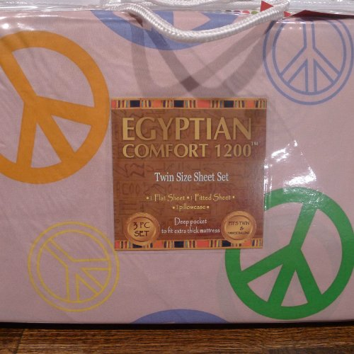 UPC 661799427876, Egyptian Comfort 1200 Childrens Twin Size Sheet Set, Pink with Multi-color Peace Symbol