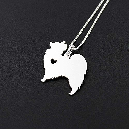 Papillon necklace sterling silver dog breeds pendant w/Heart - Love Pet Jewelry Italian chain Women Best Cute Gift Personalized Toy - Papillon Necklace