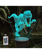 Dinosaurus 3D lamp, CooPark dino Illusion Hologram nachtlampje met 16 kleuren veranderen Afstandsbediening Dimmerfunctie, Jurassic World thema Slaapkamerdecoratie Cadeaus voor jongens meisjes