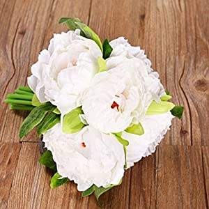 MARJON Flowers1 Bouquet 5 Heads Artificial Fake Peony Flower Bridal Wedding Party Shop Decor (White) 16
