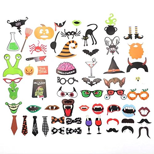 60 Pcs Halloween Photobooth Props DIY Kit Party Favors Props Accessories for Halloween Day Party By (Easy To Make Halloween Props)
