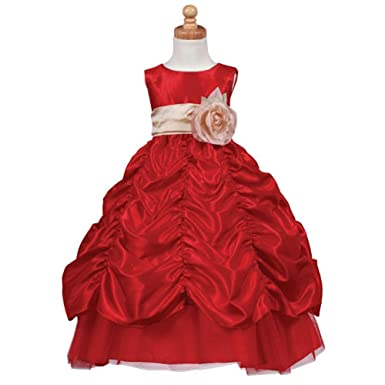lito toddler girl red champagne sash flower taffeta christmas dress 2t - Toddler Girls Christmas Dress