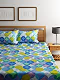 Bombay Dyeing Elements 120 TC Polycotton Double Bedsheet with 2 Pillow Covers - Blue