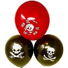 "36 Bulk 12"" Latex Pirate Skull & Cross Bones Birthday Party Balloons"