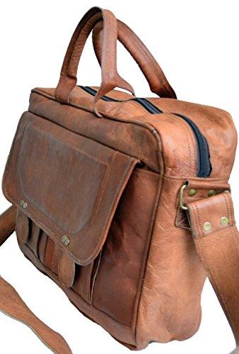 "16"" Men's Light Genuine Auth Real Leather Attache Messenger Briefcase Laptop Bag"