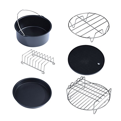 Air Fryer Accessories, 6 in 1 Multifunctional Air Fryer Accessories Set Kit Metal Holder Skewer Rack Cake Barrel, Compatible with Most Air Fryer (4.0QT - 4.5QT - 5.6QT and Up)