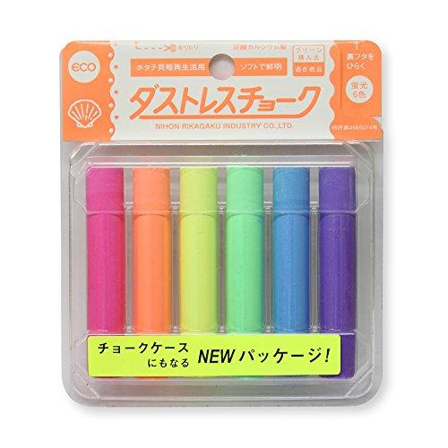Dustless Fluorescent Chalk 6pcs, 6 Colors