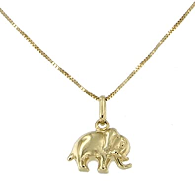 Lucchetta - Yellow Gold Necklace Elephant pendant - 9ct Gold necklace for Women with Elephant pendant Ah8A5GUs