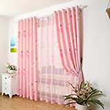 Blackout Princess Room Window Curtains,Pink Girl Drapes Panel for Baby,Printed Insulated Thermal Kid Room Set Grommet 2 PCS,52 x 96 inch