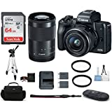 Canon EOS M50 Mirrorless Digital Camera with 15-45mm + 55-200mm Lenses -Black (USA Warranty) Bundle, Includes: 64GB SDXC Class 10 Memory Card + Full Size Tripod + Spare Battery + more
