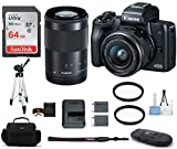 Cheap Canon EOS M50 Mirrorless Digital Camera with 15-45mm + 55-200mm Lenses -Black (USA Warranty) Bundle, Includes: 64GB SDXC Class 10 Memory Card + Full Size Tripod + Spare Battery + more
