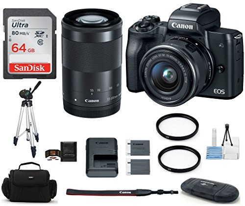 - Canon EOS M50 Mirrorless Digital Camera with 15-45mm + 55-200mm Lenses -Black (USA Warranty) Bundle, Includes: 64GB SDXC Class 10 Memory Card + Full Size Tripod + Spare Battery + more