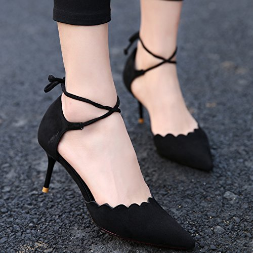 Spring Sexy Hollow Match Fine Lady Point Fashion MDRW Cross All Black Sandals Elegant High 7 Work Shoes Heels Straps 34 Leisure With 5Cm xIqWaHW
