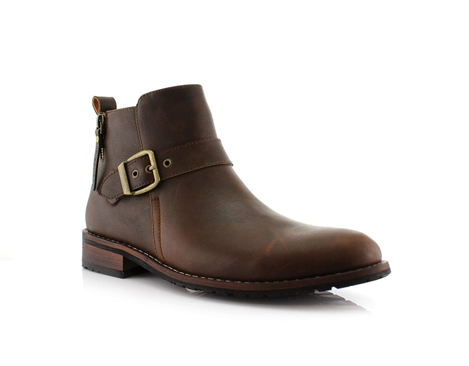New Men's Designer Buckle Accent Distressed Round Toe Dress Boots