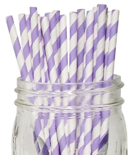 Just Artifacts - Decorative Paper Straws 100pcs - Striped Pattern - Lavender - Decorative Paper Straws for Birthday Parties, Weddings, Baby Showers, and Life Celebrations! (Lavender Paper Straws)