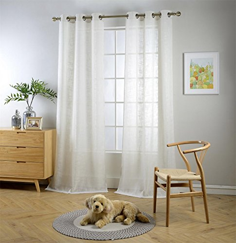 Miuco Semi Sheer Curtains Poly Linen Textured Solid Grommet Curtains 95 Inches Long for French Doors 2 Panels (2 x 37