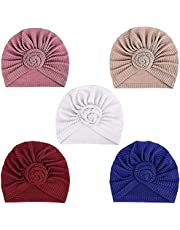 DRESHOW 5 Pack Knotted Headwraps for Women African Turban Pre-Knotted Beanie Headwraps