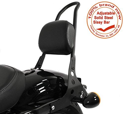 E-Most Scrub Sissy Bar Adjustable Solid Steel Passenger Backrest Luggage Rack For Harley Sportster XL 883 1200 (Low Passenger Backrest Pad)